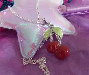 Cherry Twins Pendant with Silver Tone Chain