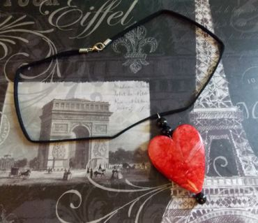Blood Red Gothic Heart Necklace with Sueded Cord