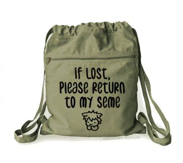 If Lost, Please Return to My Seme Cinch Backpack