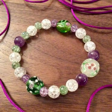 Flower Lampwork Glass Beaded Bracelet