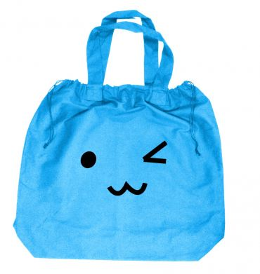 Kawaii Face Wink Extra-Large Drawstring Beach Bag