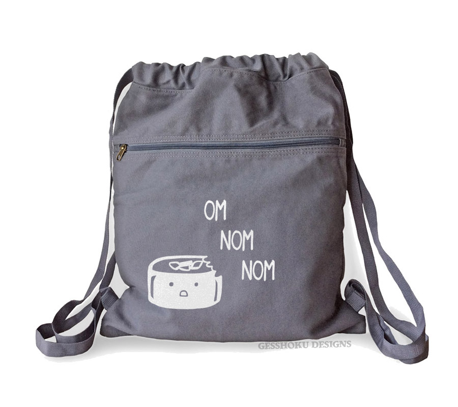 Om Nom Nom Sushi Cinch Backpack (white/grey)
